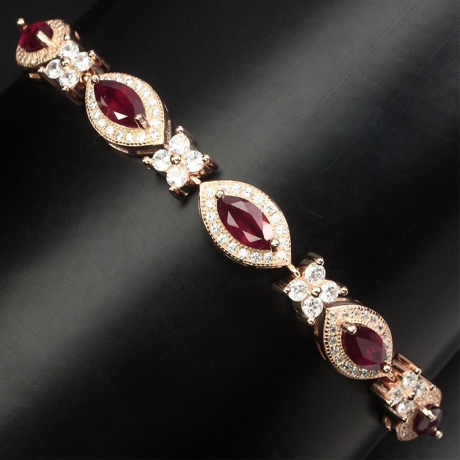 Gorgeous Genuine Blood Red Ruby Tennis Bracelet.