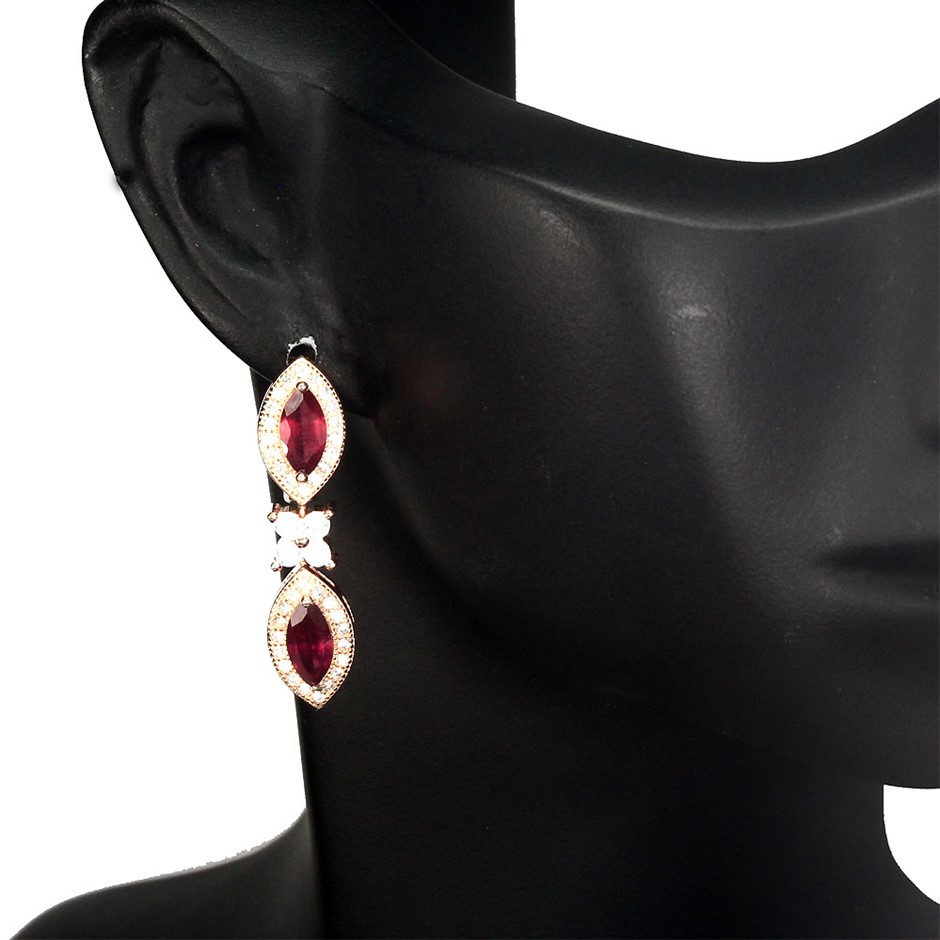 Gorgeous Genuine Blood Red Ruby Drop Earrings