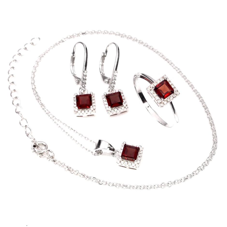 Delightful Genuine Garnet Earrings Necklace & Ring Set.