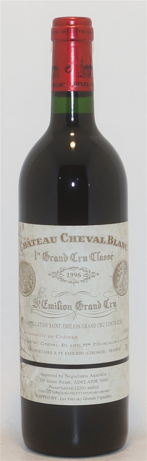 Chateau Cheval Grand Cru Blanc 1996 (1x 750ml),Saint Emilion . Cork