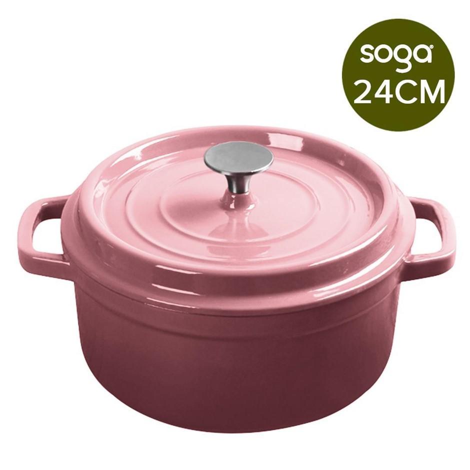 SOGA Cast Iron 24cm Enamel Porcelain Casserole Cooking Pot & Lid 3.6L Pink