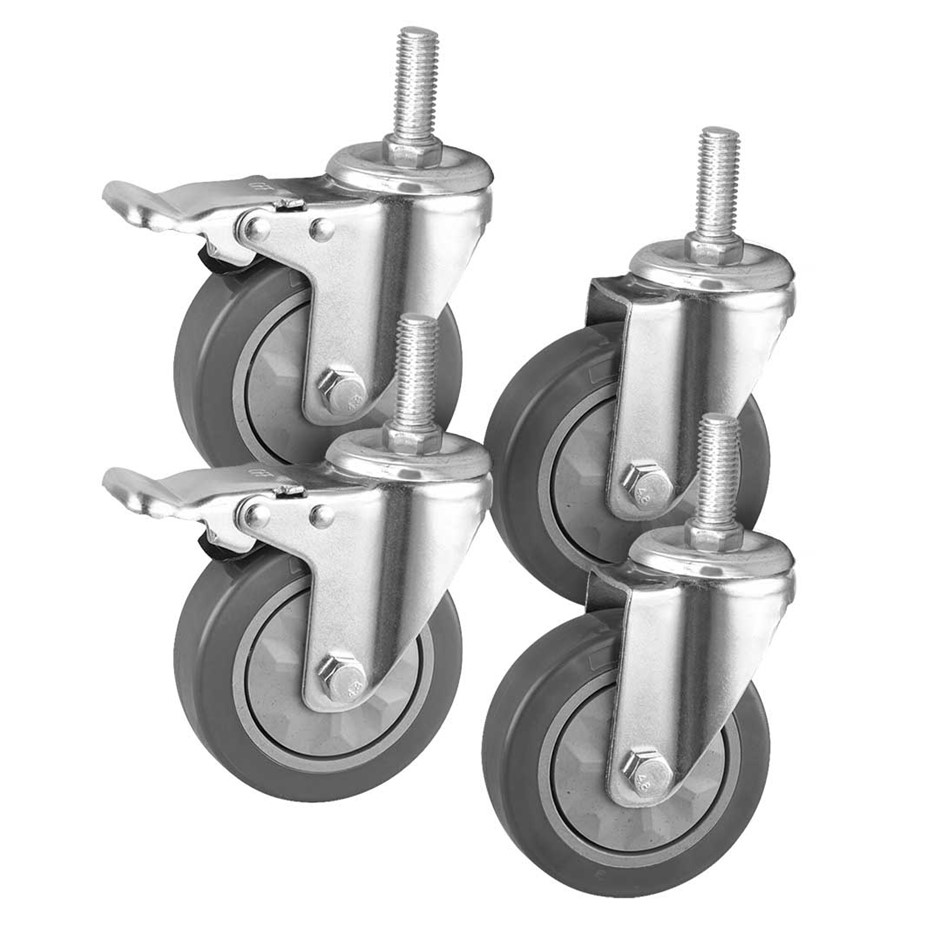 "SOGA 4"" Heavy Duty Polyurethane Swivel Castor Wheels with 2 Lock Brakes"