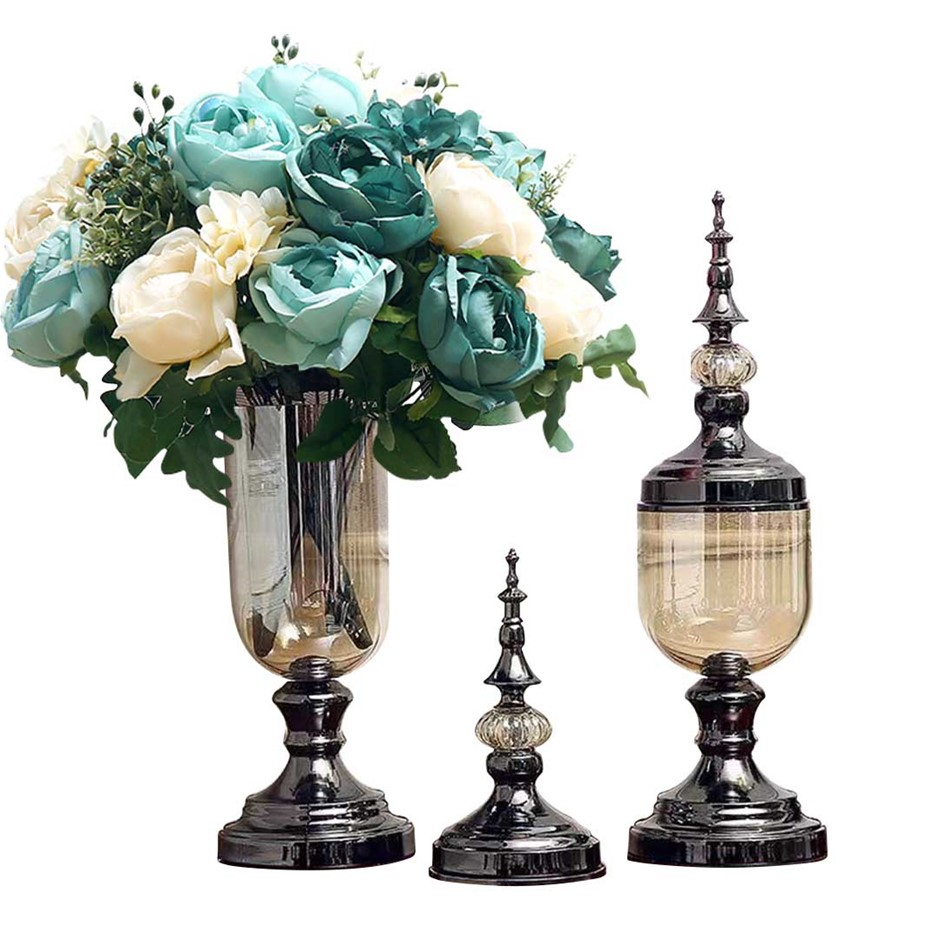 SOGA 2 x Clear Glass Flower Vase with Lid & Blue Flower Filler Vase Black