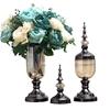 SOGA 2 x Clear Glass Flower Vase with Lid & Blue Flower Filler Vase Black