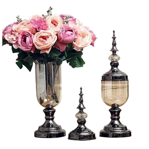 SOGA 2 x Clear Glass Flower Vase with Li