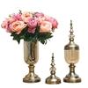 SOGA 2 x Clear Glass Flower Vase with Lid & Pink Flower Filler Vase Bronze