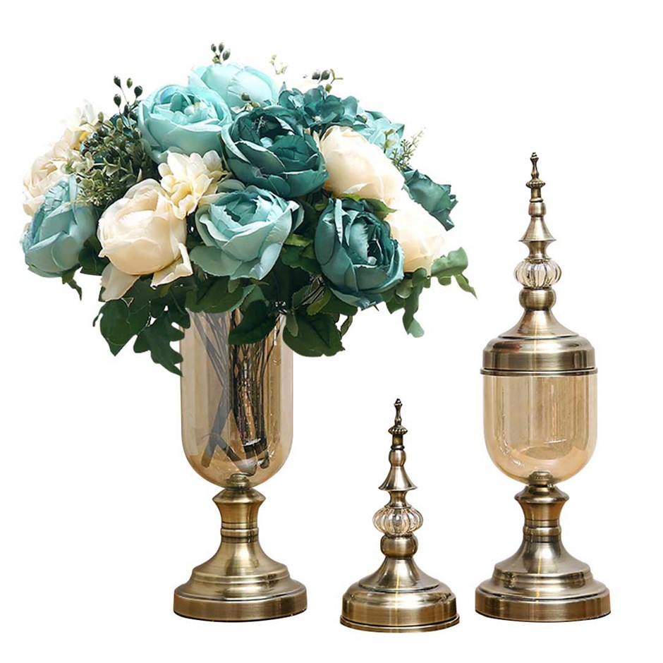 SOGA 2 x Clear Glass Flower Vase with Lid & Blue Flower Filler Vase Bronze