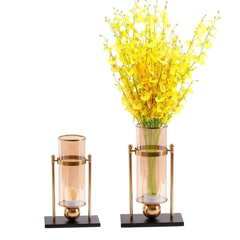 SOGA 40cm Transparent Glass Flower Vase w/ Yellow Flower and 32cm w/ Candle