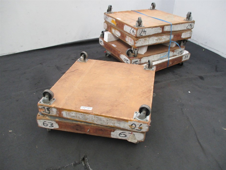 Qty 6 x Wooden Dolly Trolley's