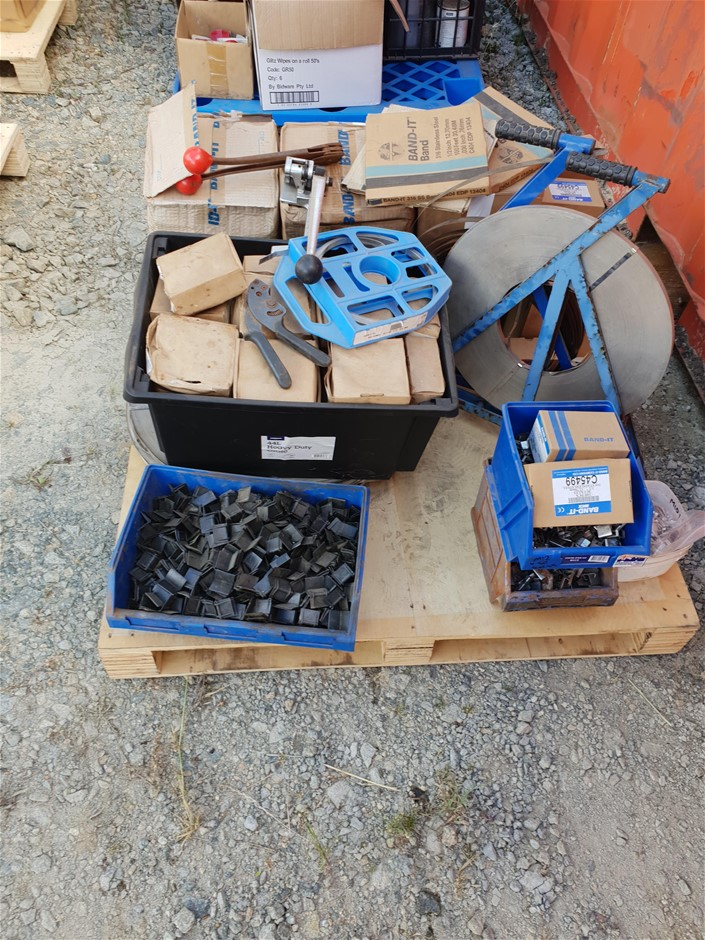 Pallet of Metal Strapping Equipment