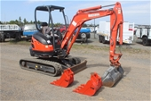 Kubota 2.5T Excavator, Huski Skid Steer & Iseki Mower