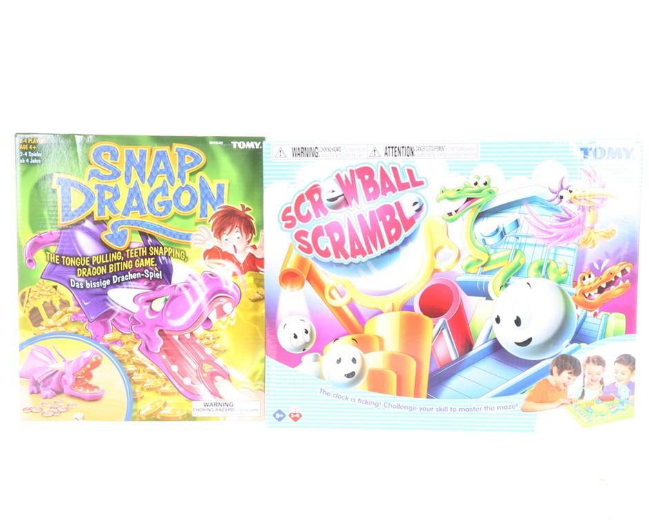 2 x TOMY Children`s Games, Incl; Snap Dragon & Screwball Scramble. Buyers N