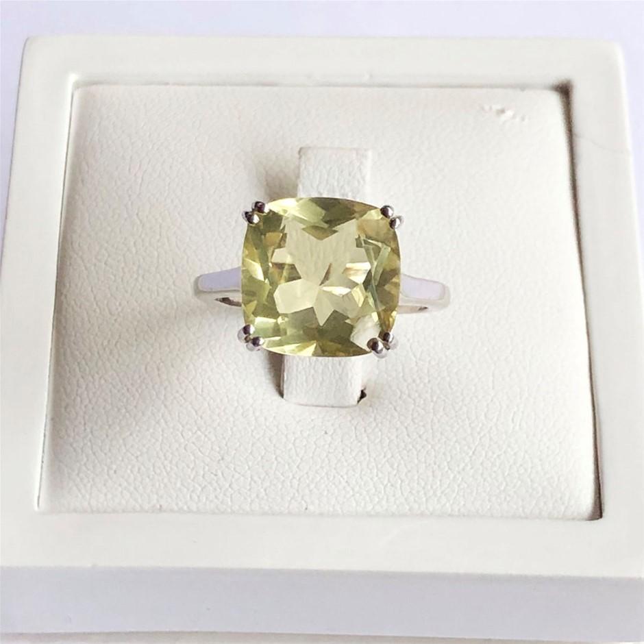 Stunning 925 Sterling Silver Lemon Quartz Ring