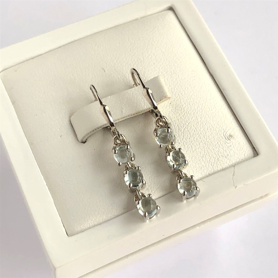 Elegant 925 Sterling Silver Blue Topaz Earrings