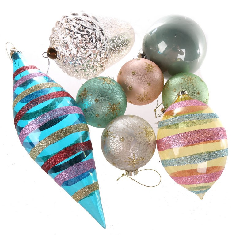 18 x Assorted FLORABELLE Ornaments, 12 x Pink & Blue Glass Tear Drop with G