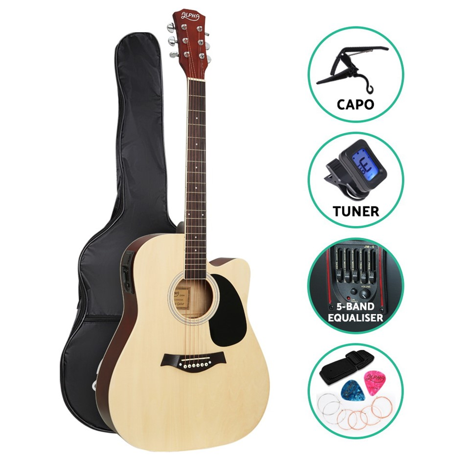 "Alpha 41"" Inch Electric Acoustic Guitar Wooden Classical Pickup Capo Tuner"