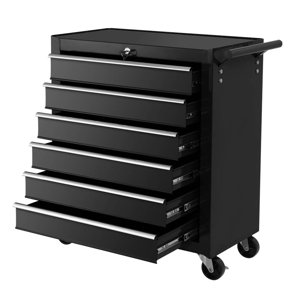 Giantz Tool Box Trolley Chest Cabinet 6 Drawers Cart Garage Set Black