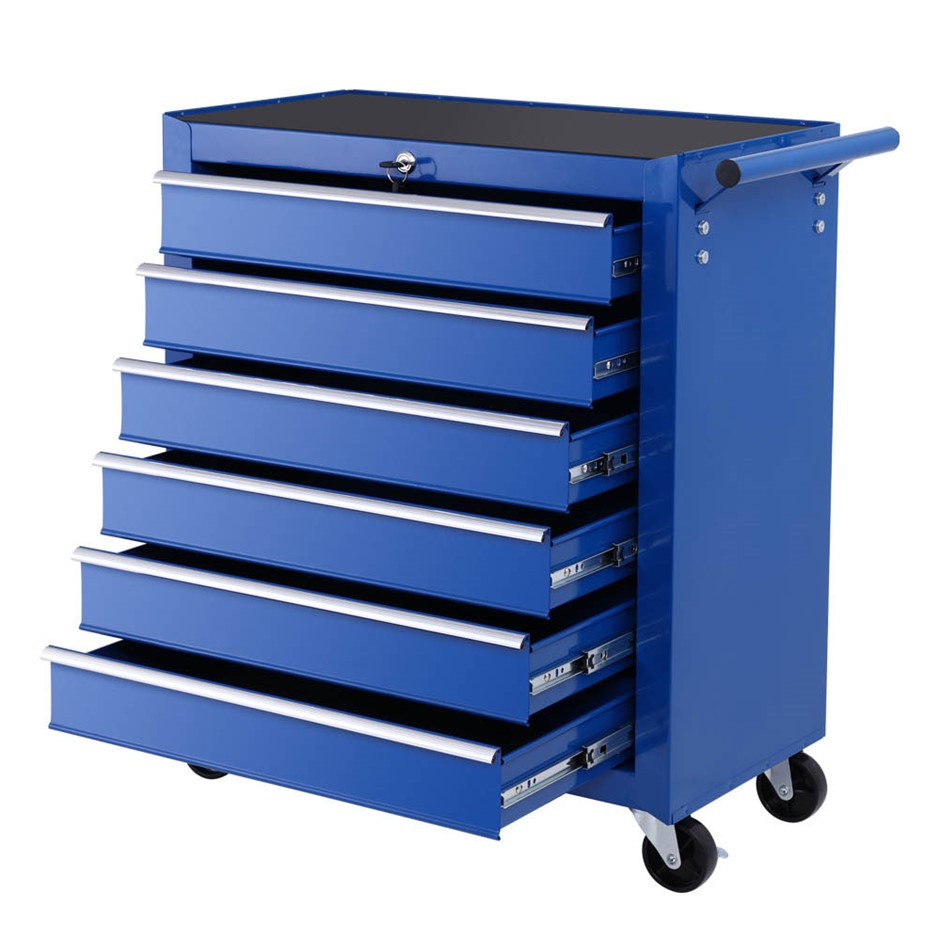 Giantz Tool Box Trolley Chest Cabinet 6 Drawers Cart Garage Set Blue