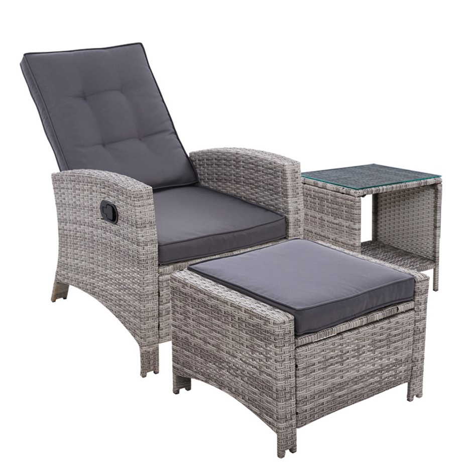 Gardeon Outdoor Setting Recliner Chair Table Set Wicker lounge Patio