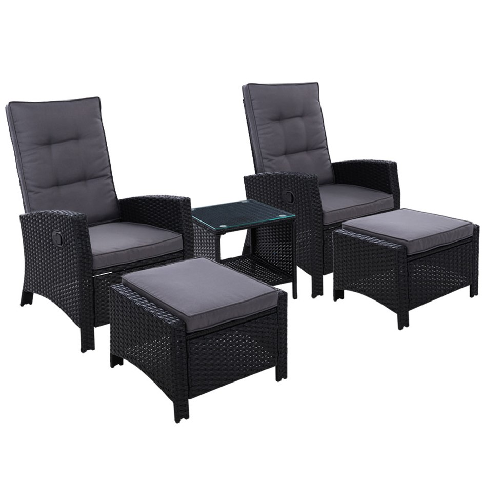 Gardeon Outdoor Patio Furniture Recliner Chairs Table Setting Wicker 5pc