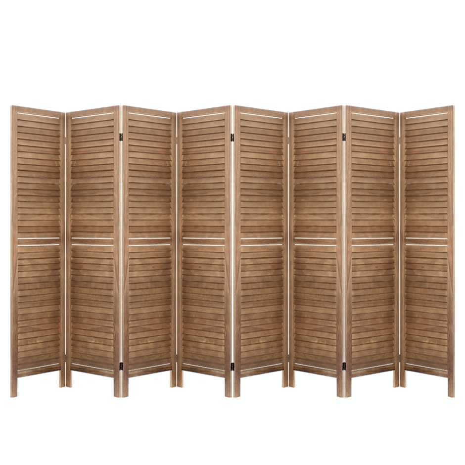 Artiss Room Divider Screen 8 Panel Privacy Wood Dividers Stand Timber Brown