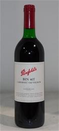 Penfolds `Bin 407` Cabernet 1999 (1x 750mL), Coonawarra. Cork closure.