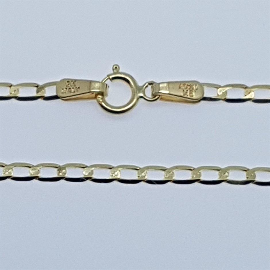 Genuine Italian Solid 9 Karat yellow Gold 55 cm chain necklace