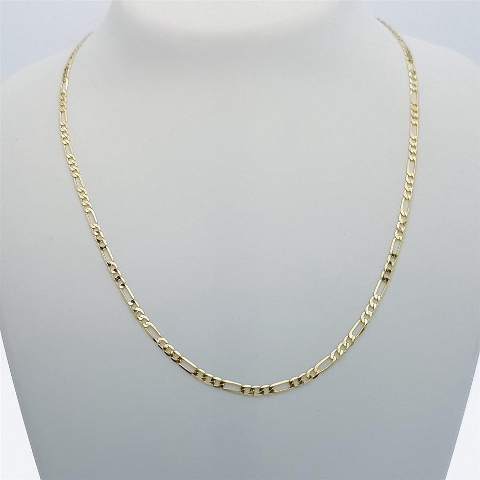Genuine Italian Solid 9 Karat yellow Gold 55 cm Figaro chain necklace
