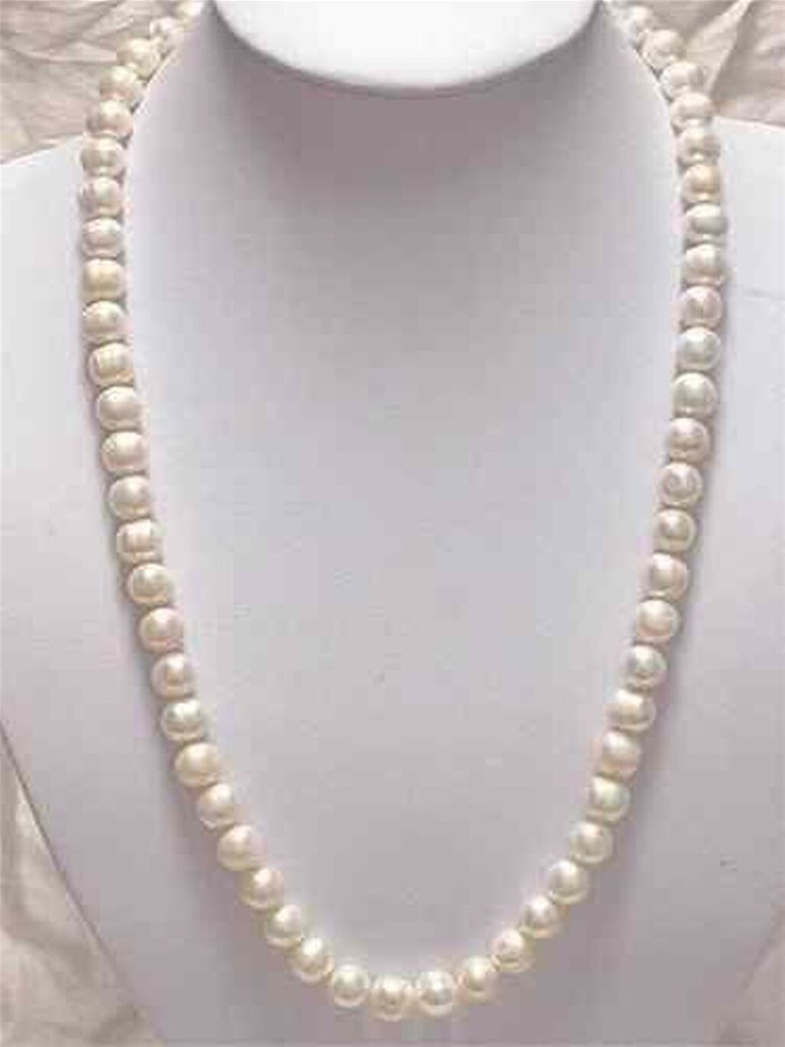 Beautiful 7-8mm White Akoya Cultured Pearl Necklace 25""