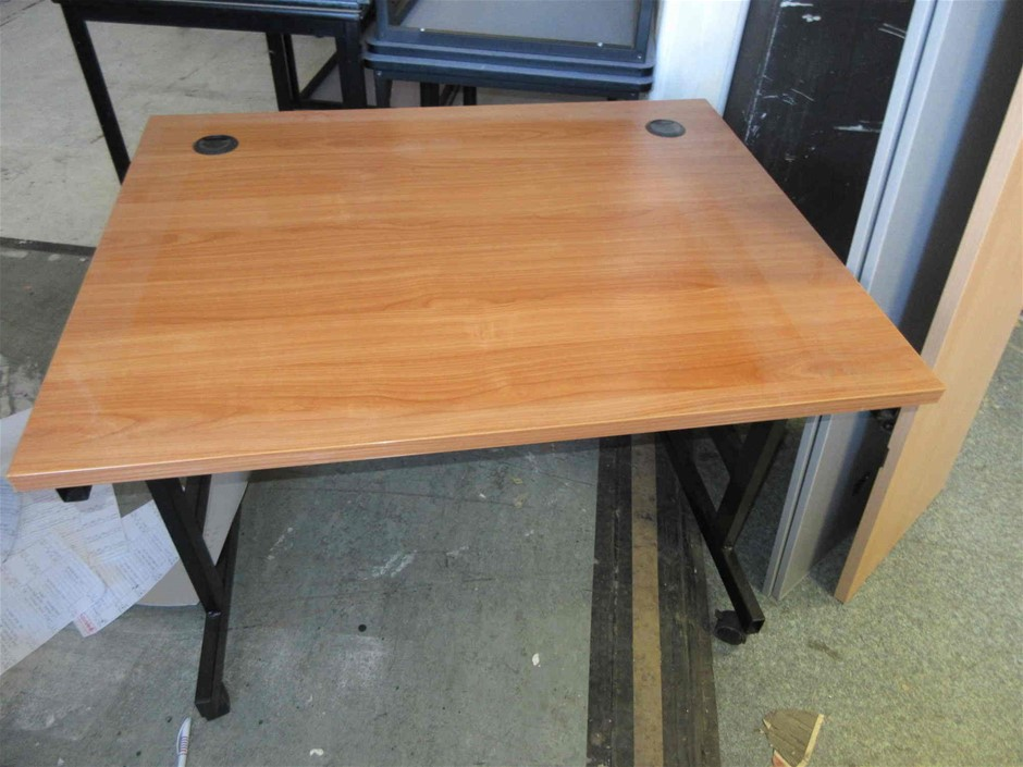 2x Timber Laminate Mobile Computer Desks