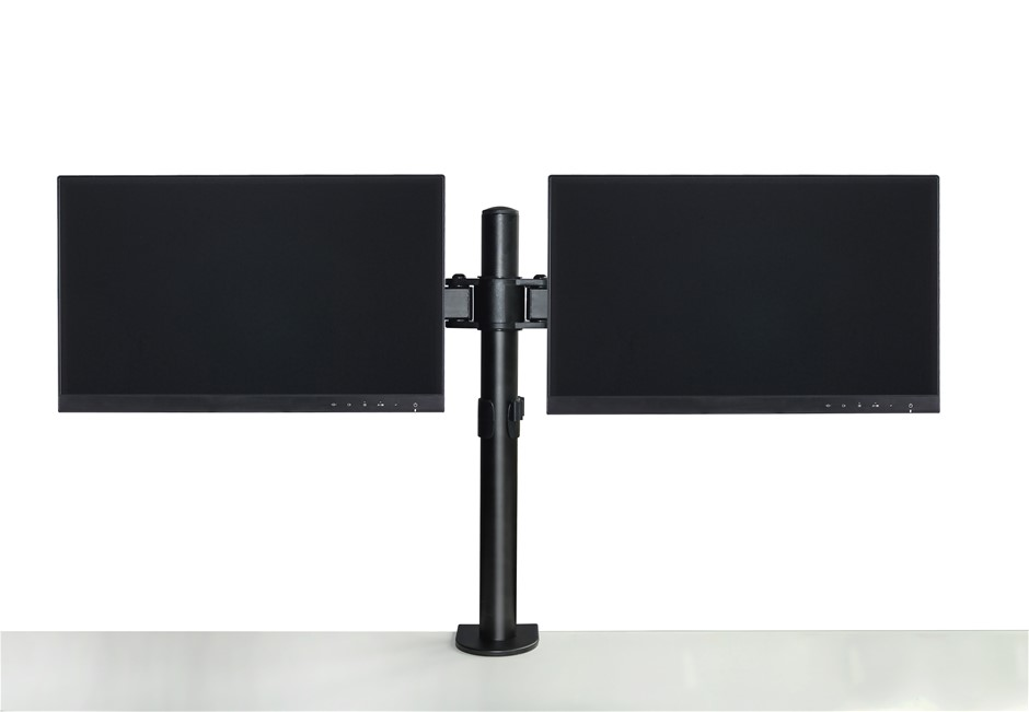 Dual LCD Monitor Desk Mount Stand Adjustable Fits 2 Screens Up To 27""