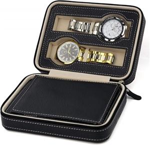4 Watch Box Display Travel Case PU Leath