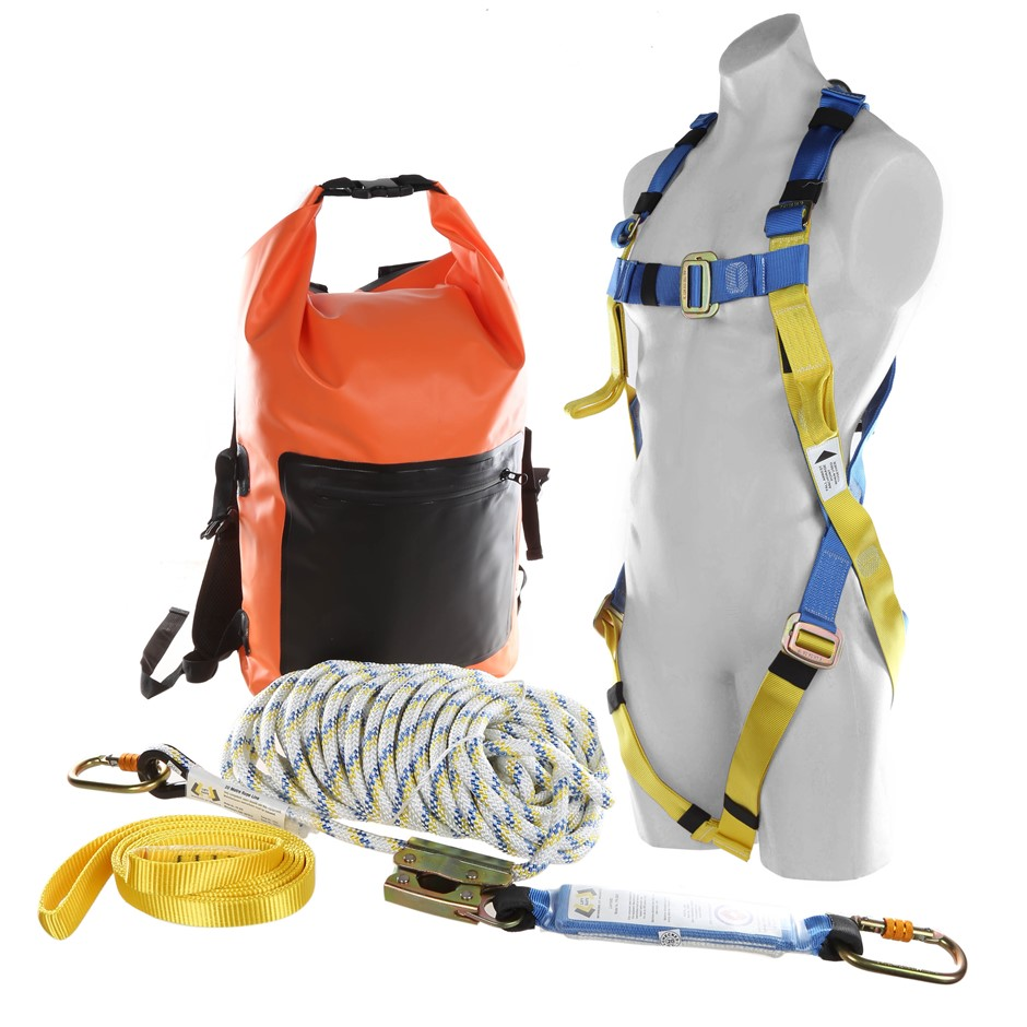 LIFT SAFE Roofers Kit, Comprising; Full Body Safety Harness, 20M Kernmantle
