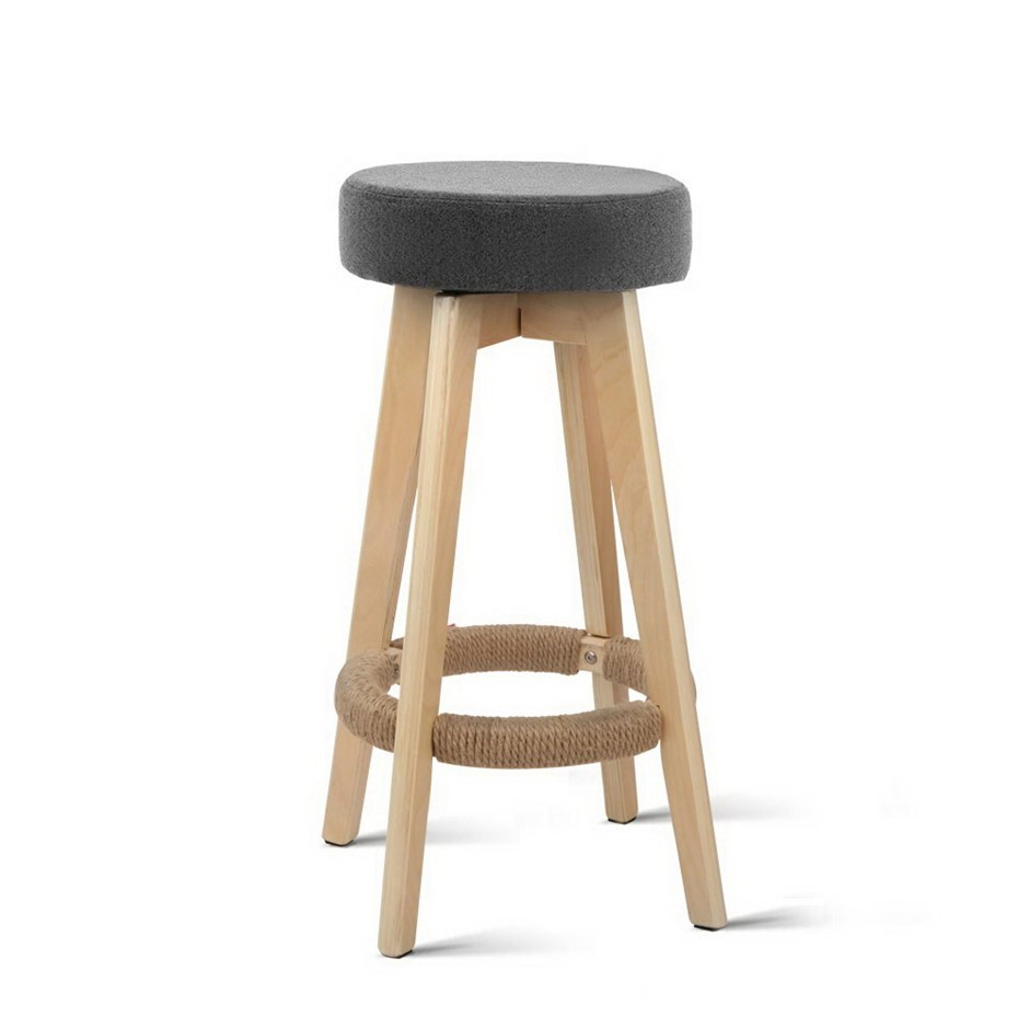 Artiss 2x Kitchen Bar Stools Wooden Swivel Counter Chairs 74cm Fabric Grey