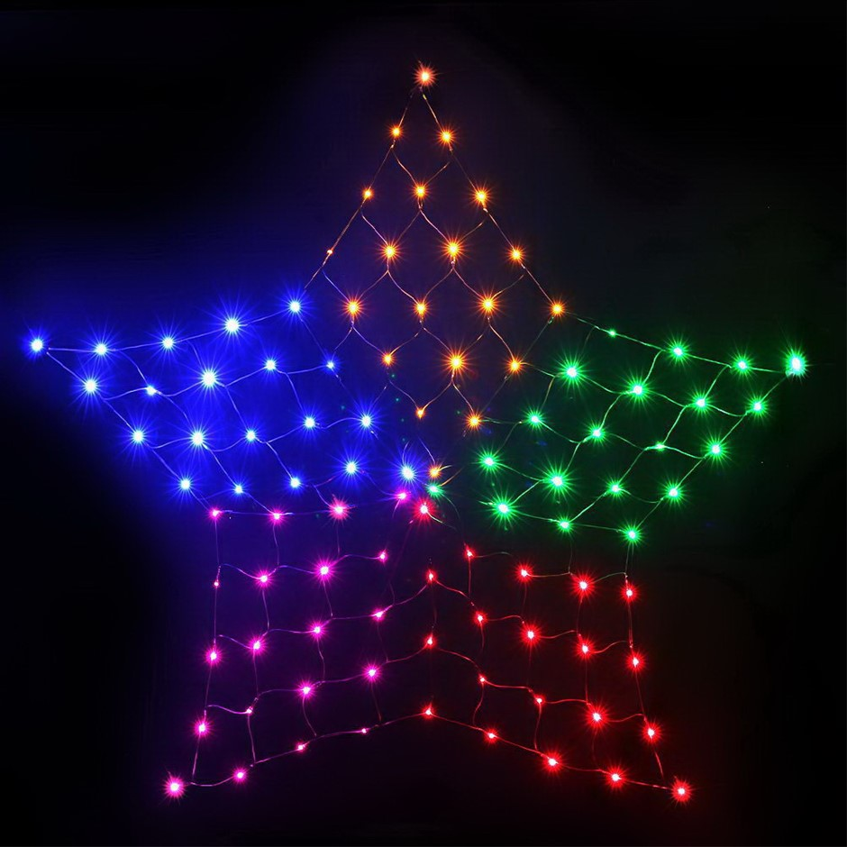 Jingle Jollys Christmas Lights LED Star Net Waterproof Outdoor Colourful