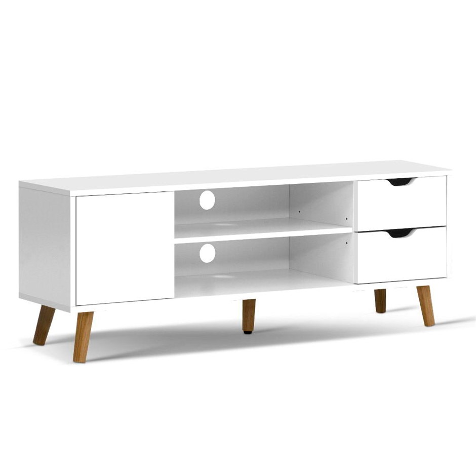 Artiss TV Cabinet Entertainment Unit Stand Wooden Scandinavian 120cm White