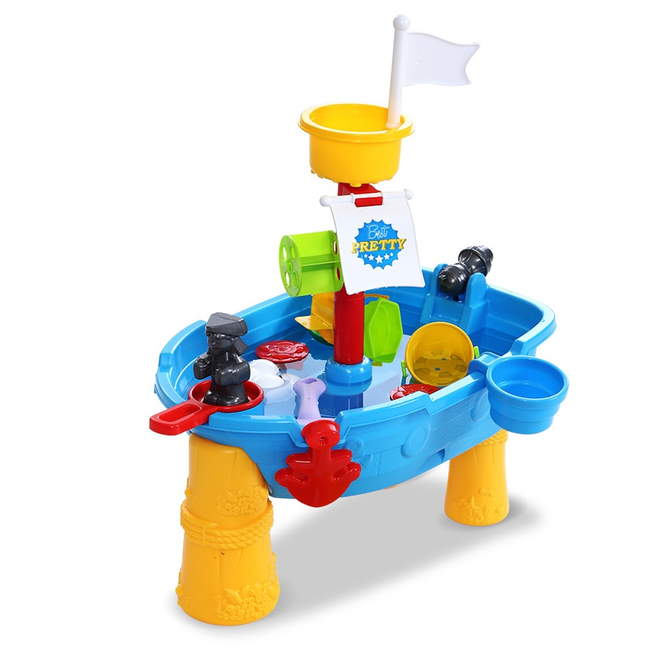 Keezi Kids Beach Sand, Water Toys Outdoor Table Pirate Ship Childrens