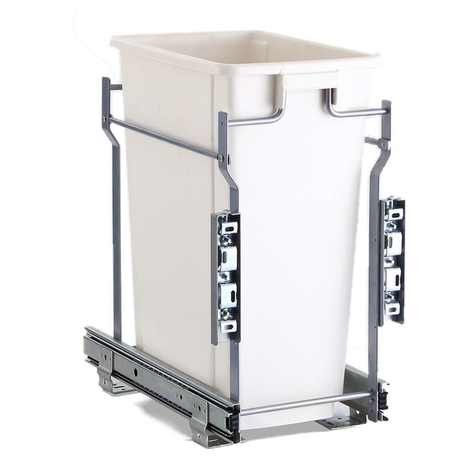 Devanti 20L Pull Out Bin Door Mount Kitchen Rubbish Bin White