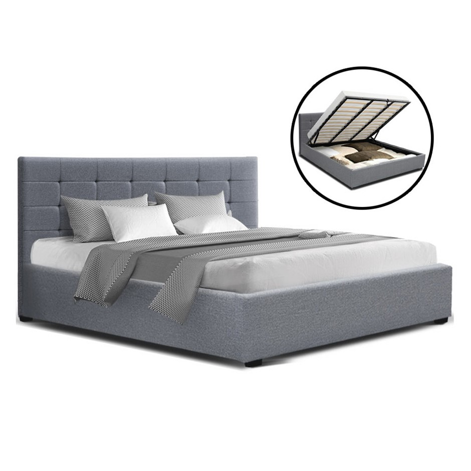 Artiss LISA King Size Gas Lift Bed Frame Base Storage Mattress Grey