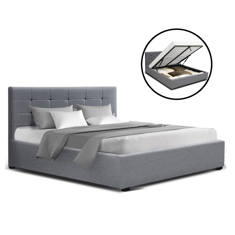 Artiss LISA Queen Size Gas Lift Bed Frame Base Storage Mattress Grey