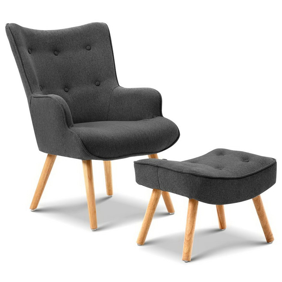 Artiss Accent Armchair and Ottoman - Charcoal