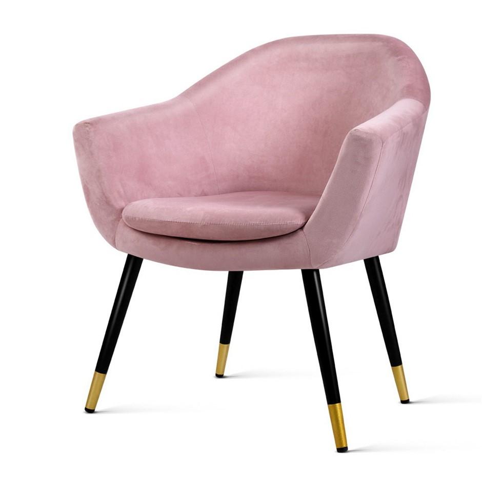 Artiss Armchair Lounge Chair Accent Retro Single Sofa Velvet Pink Seat