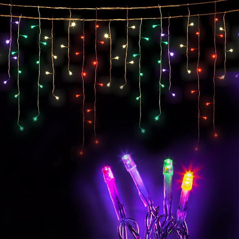 Jingle Jollys 500 Icicle Lights - Multi Colour