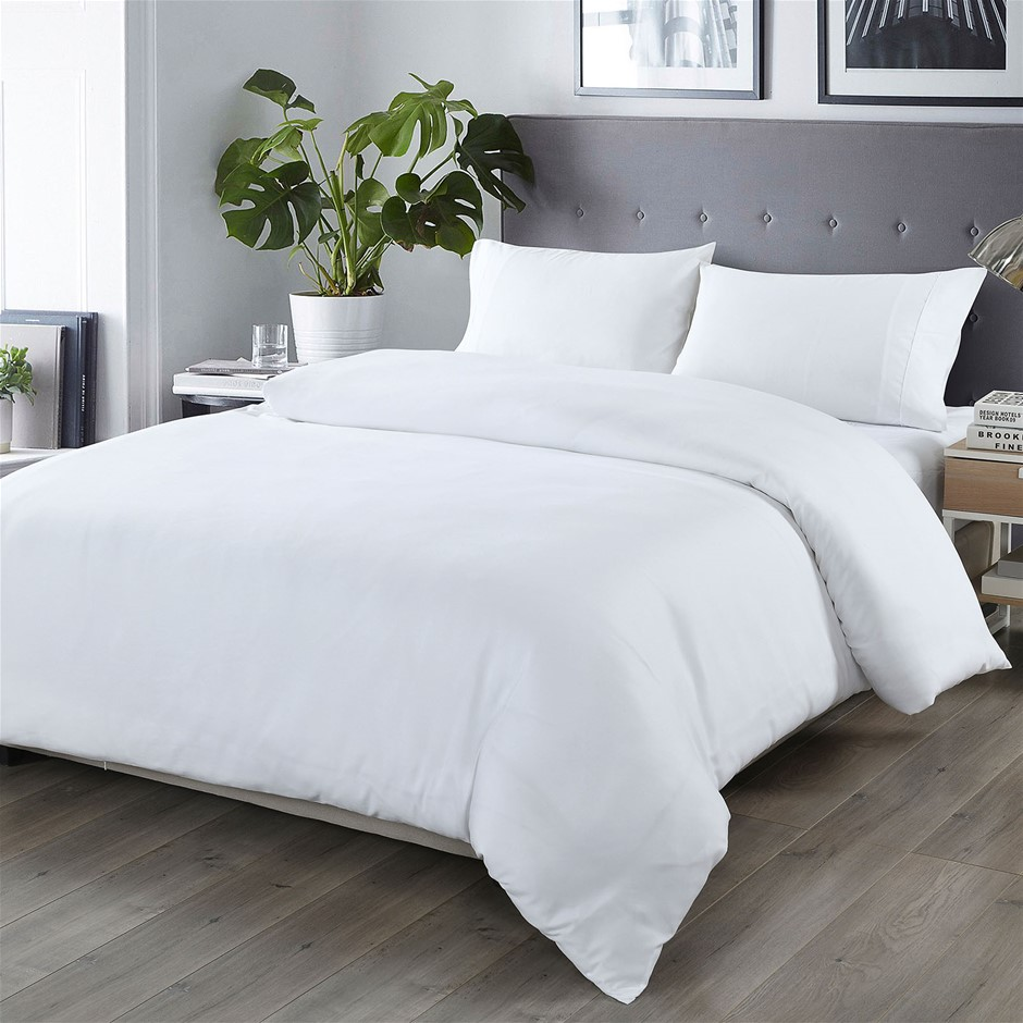Royal Comfort Blended Bamboo Quilt Cover Sets -White-Double