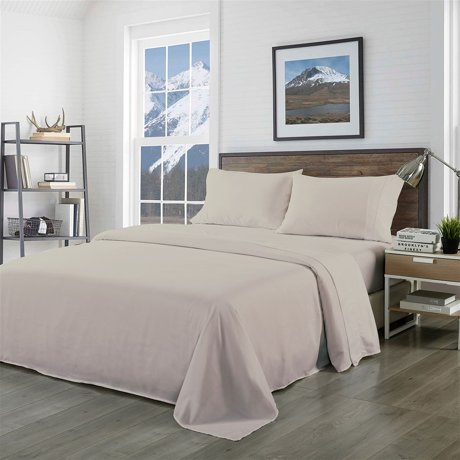 Royal Comfort Blended Bamboo Sheet Set Warm Grey - Double