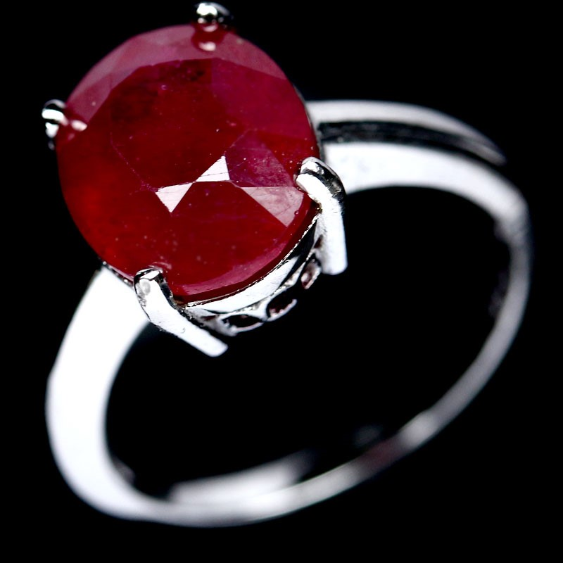Striking Genuine Blood Red Ruby Ring.