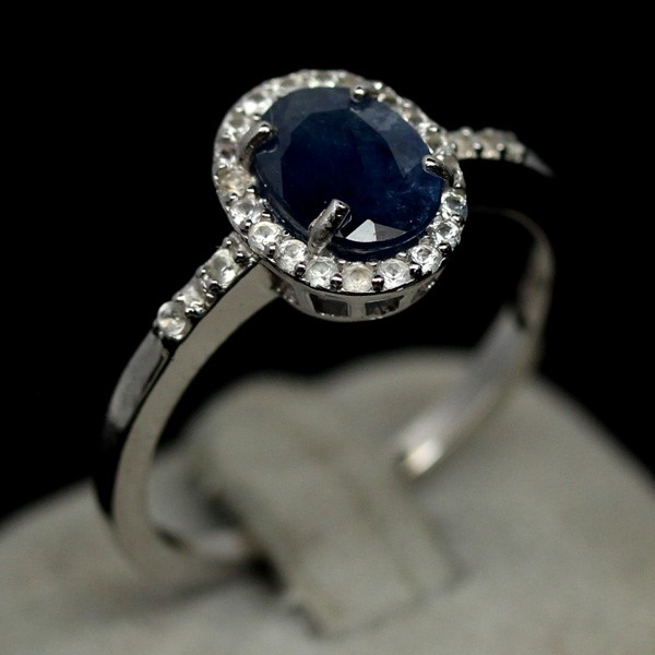 Gorgeous Genuine Intense Blue Sapphire Ring.
