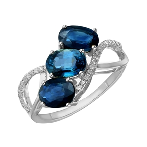 9ct White Gold, 2.98ct Blue Sapphire and