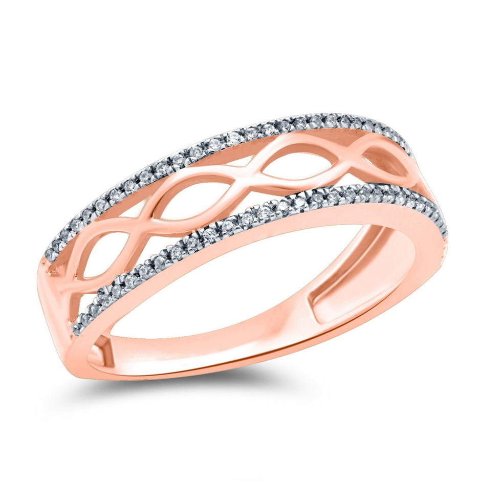9ct Rose Gold, 0.13ct Diamond Ring
