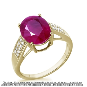 9ct Yellow Gold, 4.80ct Ruby and Diamond